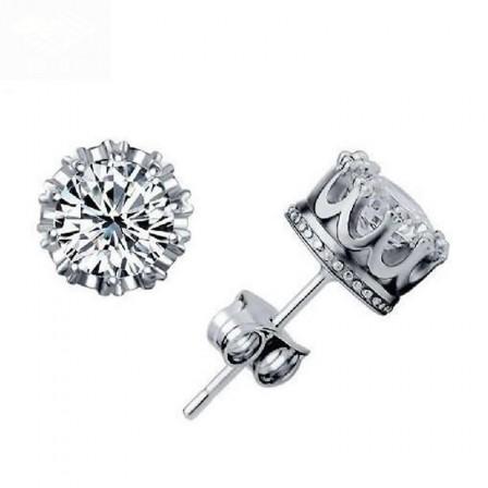 Fashion S925 Sterling Silver Crown Stud Earrings
