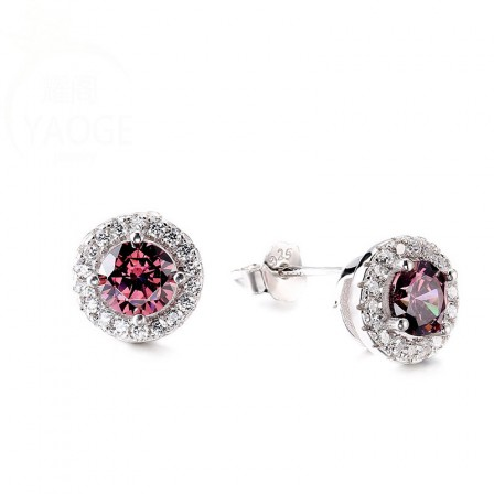 S925 Sterling Silver Fashion Jewelry Red Cubic Zirconia Earrings