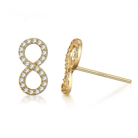 S925 Sterling Silver Simple Number 8 Shaped Cubic Zirconia Stud Earrings