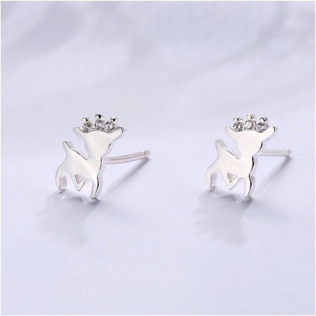 Cute Animal S925 Sterling Silver Female Cubic Zirconia Earrings