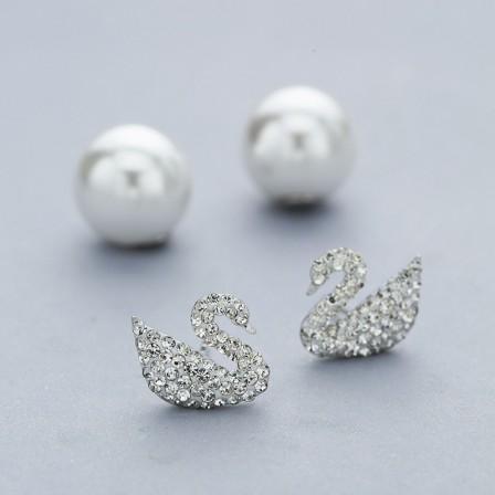 S925 Sterling Silver Fashion Pearl Swan Female Earrings