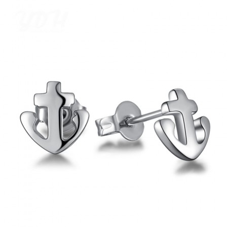 Trendy S925 Sterling Silver Navy Anchor Shape Hanging Earrings