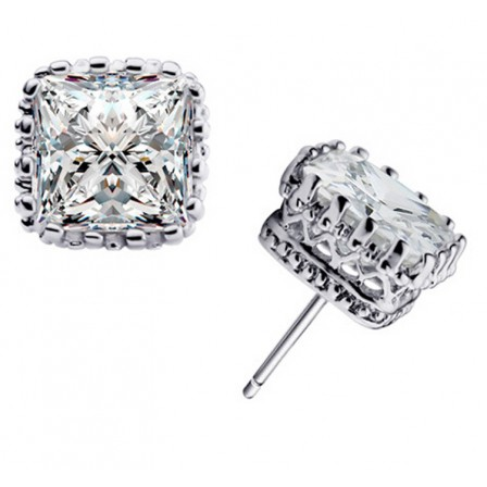 Shinning S925 Sterling Silver Crown Hollowed Square Cubic Zirconia Stud Earrings