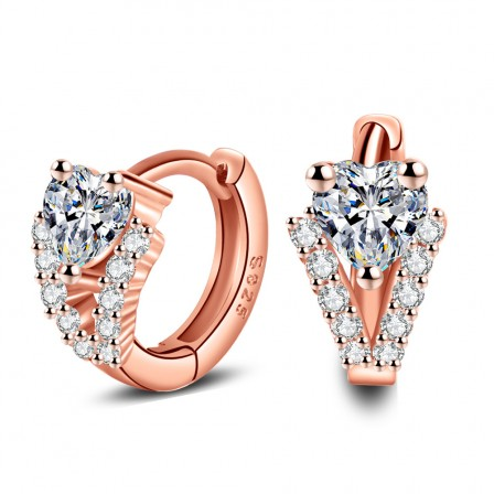European Fashion S925 Sterling Silver Cubic Zirconia Rose Gold Earrings