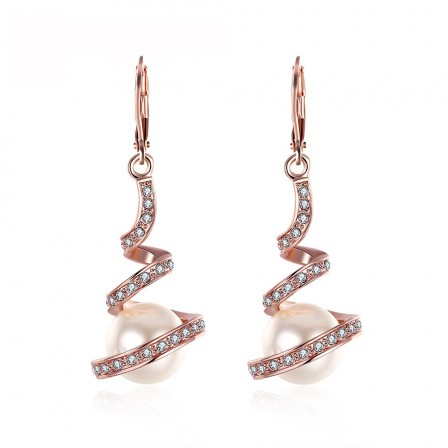 Creative Alloy Cubic Zirconia Female Retro Pearl Earrings