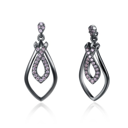 Fashion Water Drop Ladies Purple Cubic Zirconia Earrings