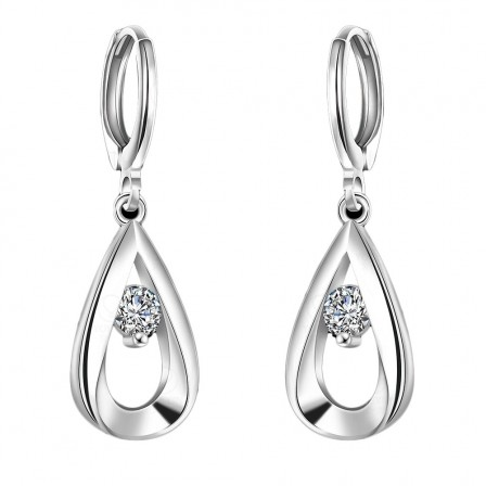 Alloy Silver Plated Cubic Zirconia Water Drop Earrings