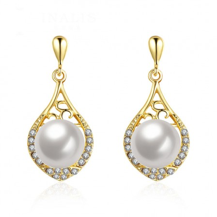 Elegant Long Alloy Pearl Anti Allergy Earrings