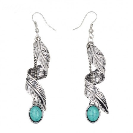 New Imitation Turquoise Long Leaves Earrings