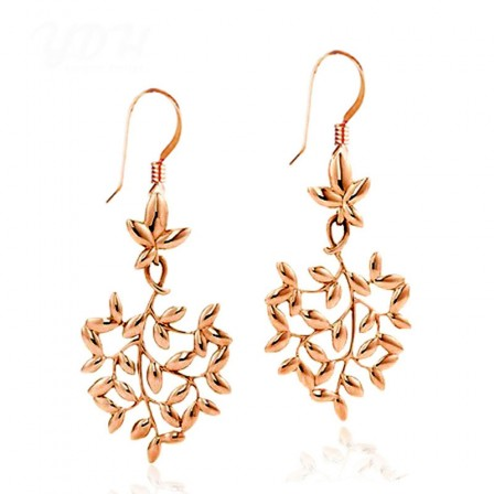 European Fashion Rose Gold Leaves Alloy Earrings