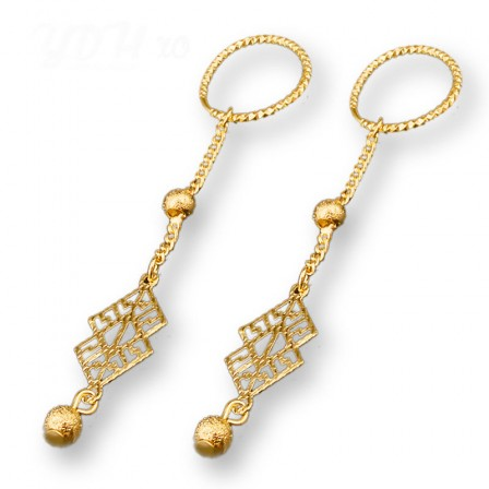18K Gold Plated Alloy Hollowed Pendant Earrings
