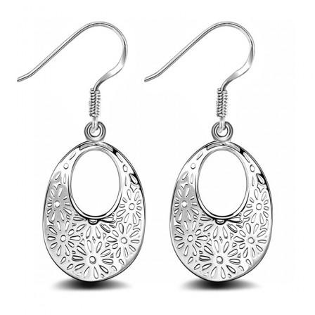 Fancy Hollowed Patterns Silver Plated Oval Earrings