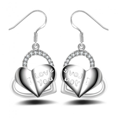 New Type Anti Allergy Silver Plated Heart-Shaped Earrings
