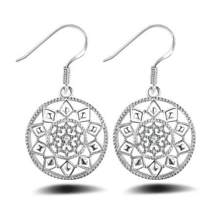 Women'S Silver Plated Round Shape Cubic Zirconia Earrings