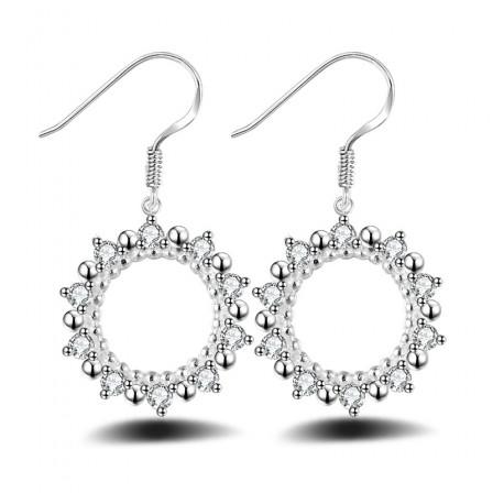 Silver Plated Circular Hollowed Sun Cubic Zirconia Earrings