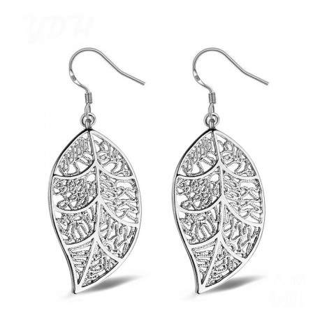 Trendy Alloy Silver Plated Pendent Leaves Earrings