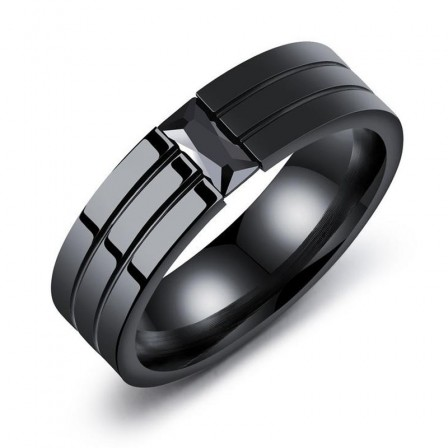 Personalized Diamond Titanium Steel Men's Ring Black Zircon Single Ring