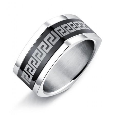 Fashion Titanium Steel Square Great Wall Men's Ring