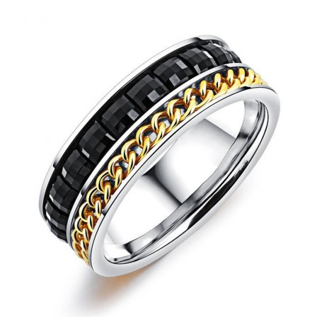 Personalized Chain Black Diamond Ring Men's Titanium Rotatable Ring