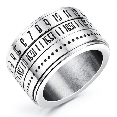 Fashionable Titanium Steel Rotary Digital Ring Lettering