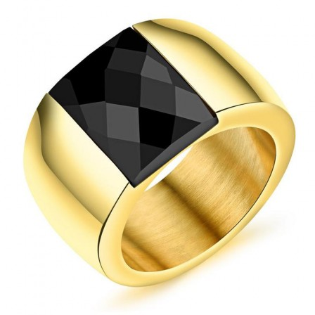 Inlaid Black Crystal Simple Men's Ring