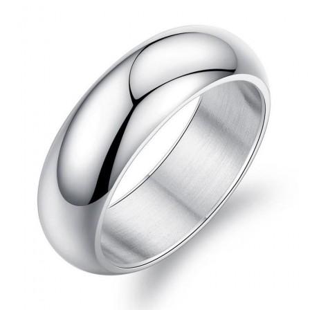 White Glossy Titanium Steel Men's Ring