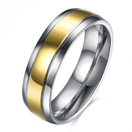 Men's Stainless Steel Gold-Plated Ring