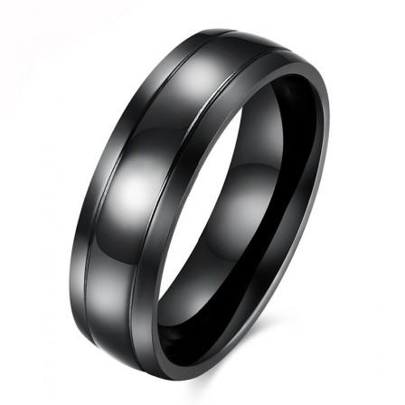 Black Titanium Steel Smooth Men's Ring