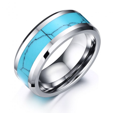 Tungsten Flaw Personalized Ring Flat Edge Inlaid With Turquoise