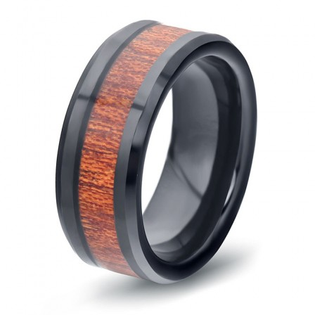 Men's Tungsten Steel Black Wood Inlay Ring