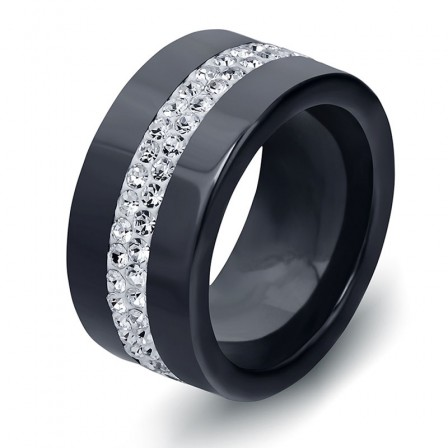 Simple Personality Black And White 2 Rows Of Crystal Diamond Inlaid Ceramic Ring