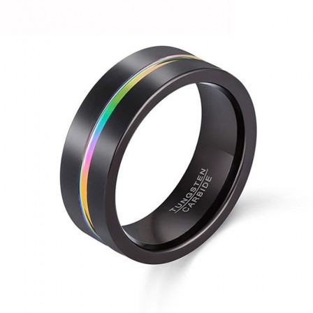 8mm Slotted Bright Tungsten Steel Ring Black Rainbow Color Men's Ring