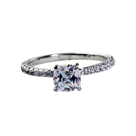 1 Carat Half Circle Diamond Square Diamond 925 Silver Platinum Diamond Ring