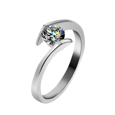 Gold-Plated WoMen's Sterling Silver Engagement Ring