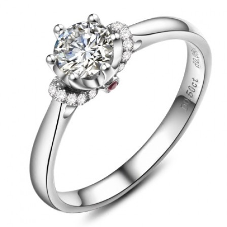 Simple Sweet 1.0 CT Or 0.5 CT 925 Sterling Silver Promise Rings For Her
