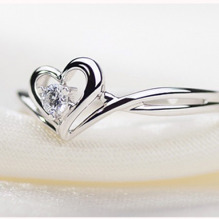 925 Sterling Silver Heart-Shaped Couple Rings