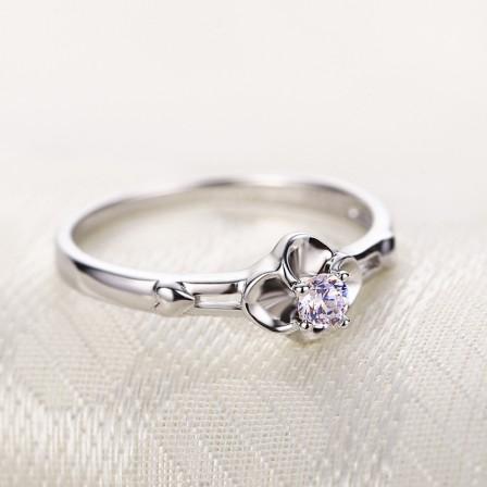 Lucky Clover Ring Couple Lettering Promise Ring