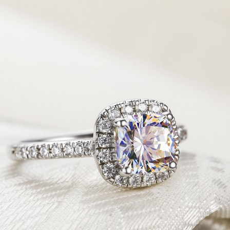 925 Sterling Silver High-End Princess Square Ladies Promise Ring