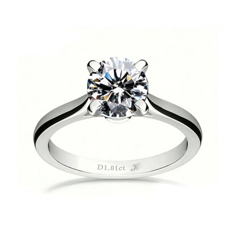 Simple 925 Pure Silver Female Four - Claw Zircon Wedding Ring