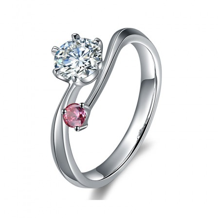 Sparkling Inlaid Red Cz S925 Sterling Silver Engagement Ring/Promise Ring
