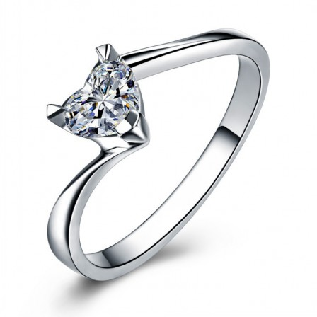 Heart Simple Inlaid Cz S925 Sterling Silver Engagement Ring/Promise Ring