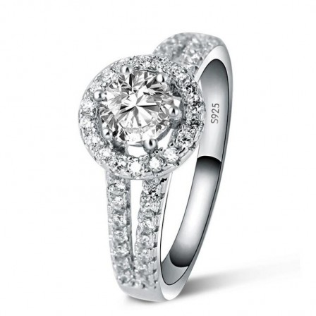 Natural Cluster Inlaid Cz S925 Sterling Silver Engagement Ring/Promise Ring For Her