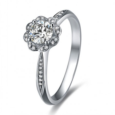 Cute Flower Shape Inlaid Cz S925 Sterling Silver Engagement Ring/Promise Ring