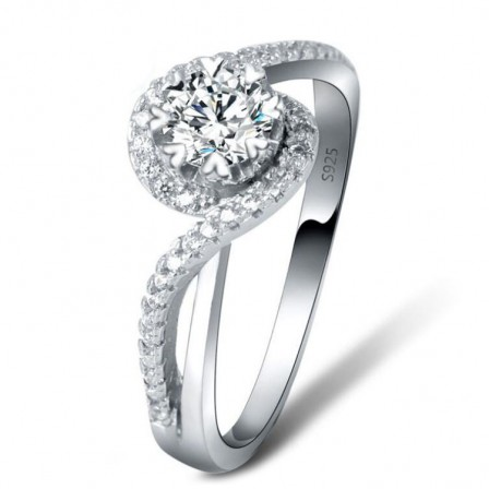 Fashion Distortion Inlaid Cz S925 Sterling Silver Engagement Ring/Promise Ring
