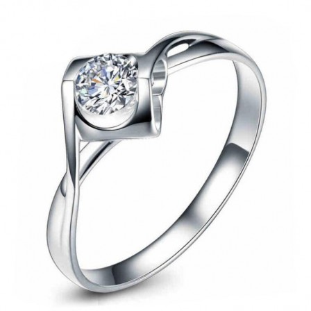 Generous Inlaid Square Cz S925 Sterling Silver Engagement Ring/Promise Ring