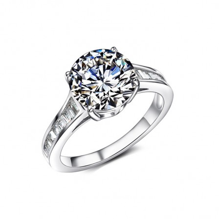 European Exaggeration Big Cut Diamond Ringinlaid Cz S925 Sterling Silver Promise Ring