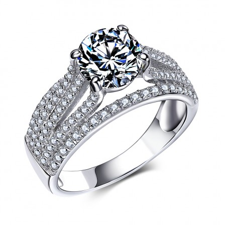 Korean Simple And Elegant Inlaid Cz S925 Sterling Silver Engagement Ring/Promise Ring