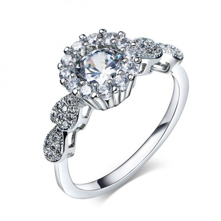 Luxurious Large Inlaid Cz Drill S925 Sterling Silver Promise Ring