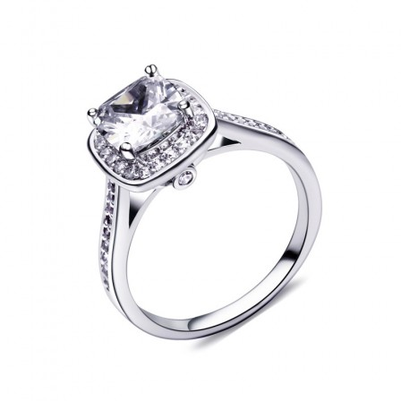 Cushion Cut Drill Inlaid S925 Sterling Silver Engagement Ring/Promise Ring