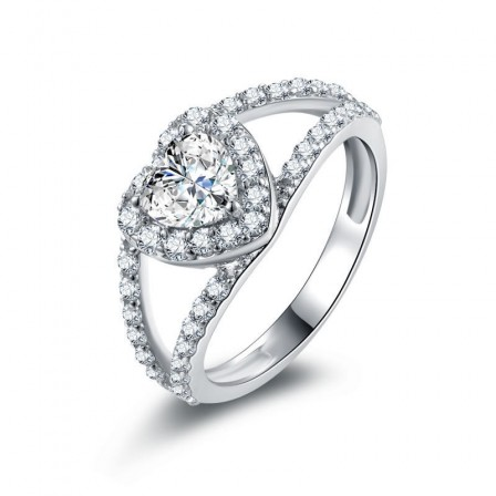 Promise True Love Inlaid Cz S925 Sterling Silver Engagement Ring/Promise Ring